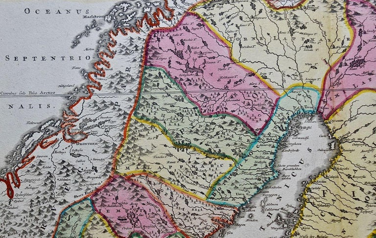 Hand-colored 18th C. Homann Map of Sweden and Adjacent Portions of Scandinavia  For Sale 1