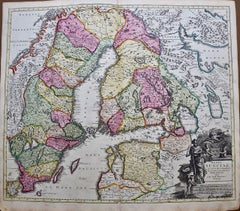 Hand-colored 18th C. Homann Map of Sweden and Adjacent Portions of Scandinavia