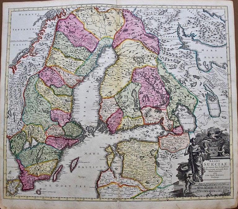 Johann Baptist Homann Landscape Print - Hand-colored 18th C. Homann Map of Sweden and Adjacent Portions of Scandinavia