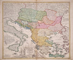 Hand-colored 18th C. Homann Map of the Danube, Italy, Greece and Croatia