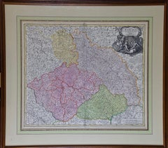 "Hand Colored 18th Century Homann Map ""Bohemiae"" of the Modern Day Czech Republic"
