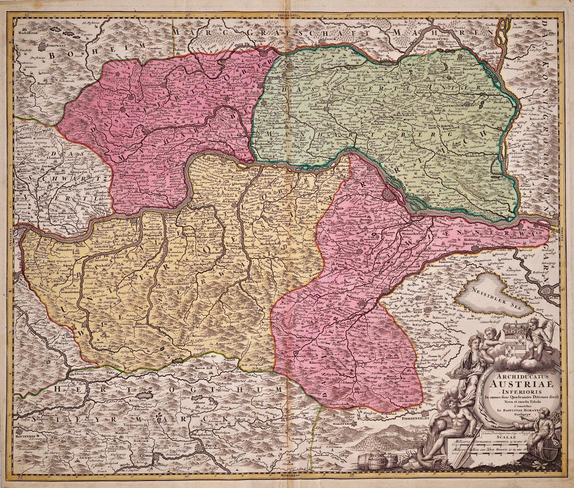 Hand Colored 18th Century Homann Map of Austria Including Vienna & the Danube