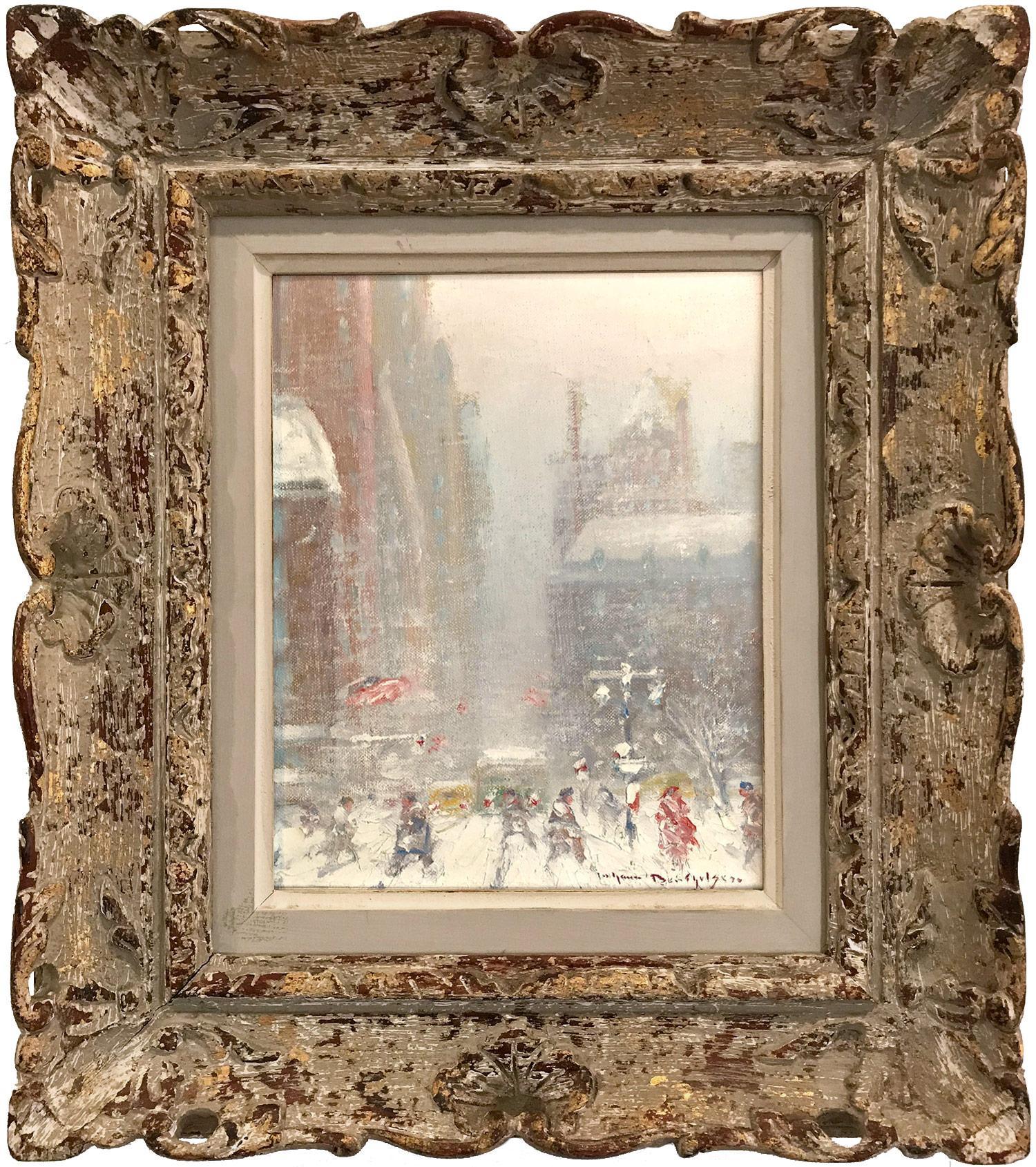 """5th Avenue in Winter"" Impressionist NYC Winter Street Scene Oil on Canvas"
