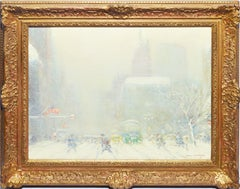 Antique Winter Impressionist Oil Painting of New York City, by Johann Berthelsen