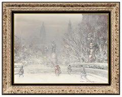 Johann Berthelsen Original New York Winter Scene Snow Painting Oil On Canvas Art