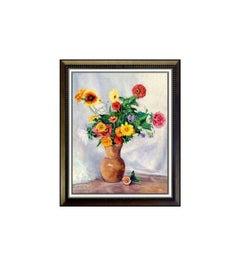 JOHANN BERTHELSEN Original Oil PAINTING on CANVAS Signed Art Still Life FLOWERS