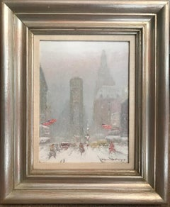Johann Berthelsen, Times Sq, Period Oil Painting of New York City 1883-1972