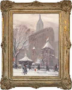 Little Church Around the Corner, Impressionist Winter Street Scene
