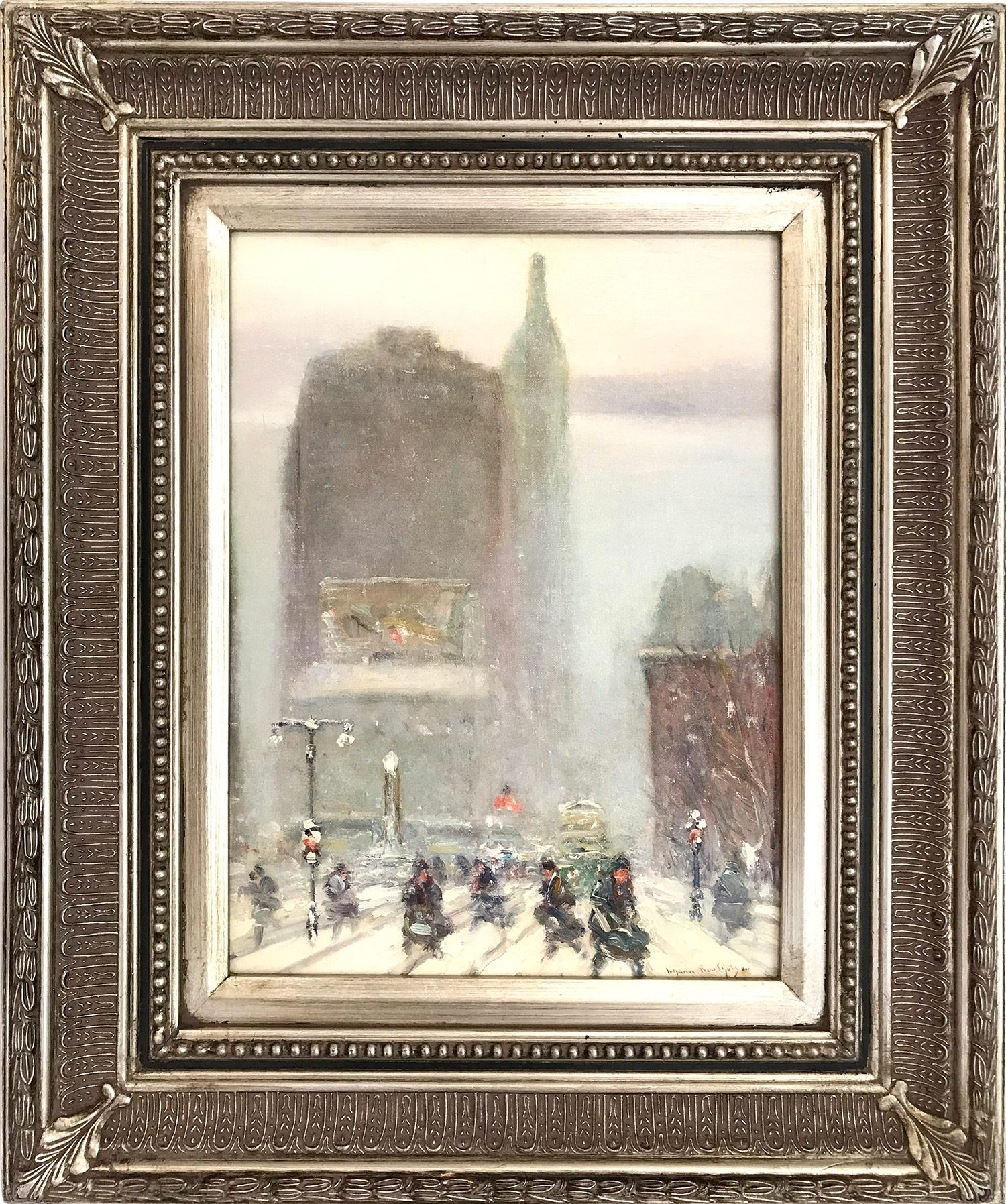 """""""Madison Square on 5th Avenue and 23rd Street"""" Impressionist Winter Street Scene"""