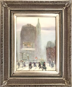 """Madison Square on 5th Avenue and 23rd Street"" Impressionist Winter Street Scene"