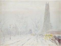 """Riverside Drive,"" Johann Berthelsen, New York City Impressionist Winter Snow"