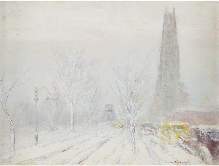 """Riverside Drive,"" Johann Berthelsen, New York City Impressionist Winter Snow - Painting by Johann Berthelsen"