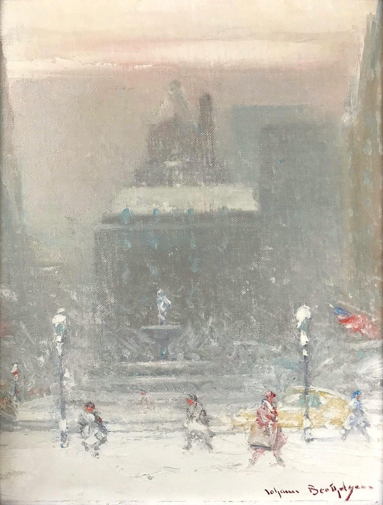 The Grand Army Plaza in Winter - Painting by Johann Berthelsen