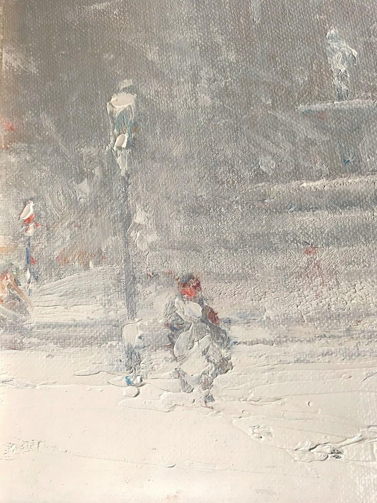 A truly stunning jewel and pertinent example of Berthelsen's charming New York City winter scenes. depicting