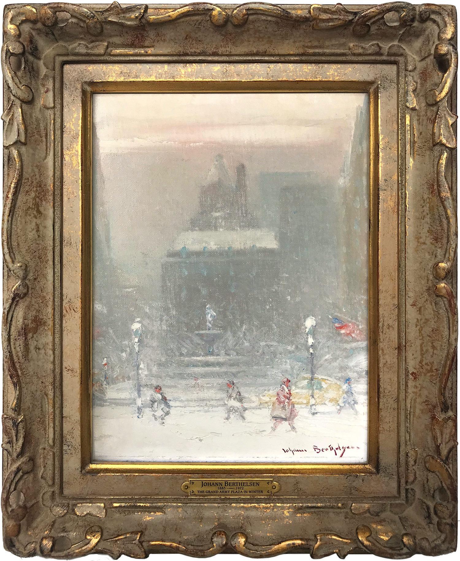 """The Grand Army Plaza in Winter"" Impressionist Winter Street Scene Oil on Canvas"