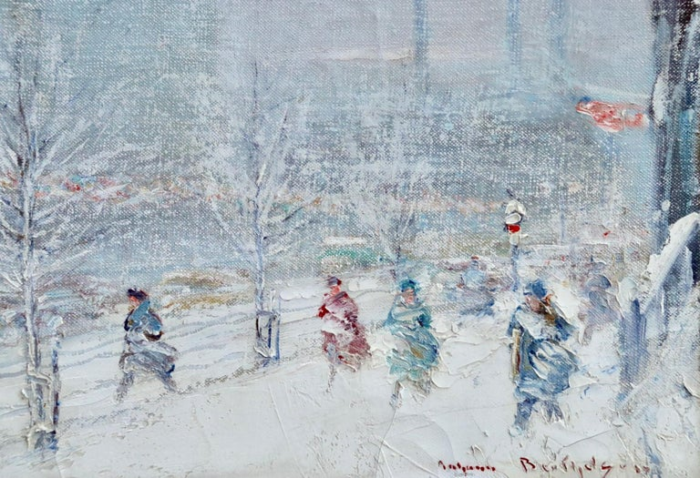 United Nations Plaza-New York-Winter - Figures in Snow Landscape by Berthelsen - Painting by Johann Berthelsen