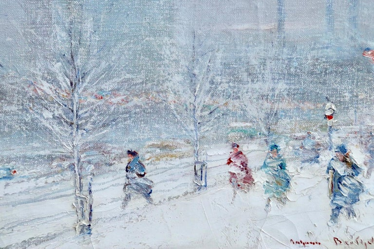 United Nations Plaza-New York-Winter - Figures in Snow Landscape by Berthelsen - American Impressionist Painting by Johann Berthelsen