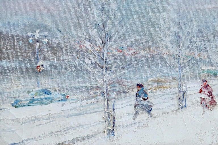 United Nations Plaza-New York-Winter - Figures in Snow Landscape by Berthelsen - Gray Landscape Painting by Johann Berthelsen