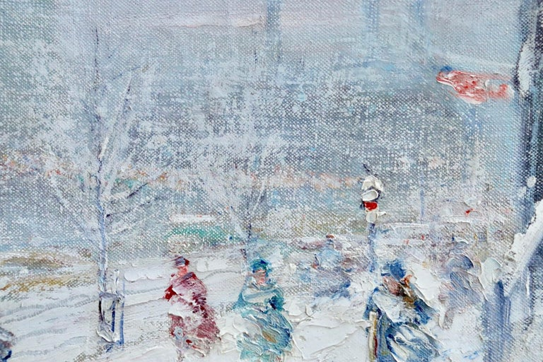 Oil on canvas circa 1950 by Johann Henrik Carl Berthelsen depicting figures walking along the street in New York on a cold winter's day as the snow falls. Signed lower right. This painting is not currently framed but a suitable frame can be sourced
