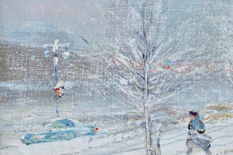 United Nations Plaza-New York-Winter - Figures in Snow Landscape by Berthelsen For Sale 1