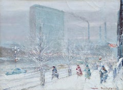 United Nations Plaza-New York-Winter - Figures in Snow Landscape by Berthelsen