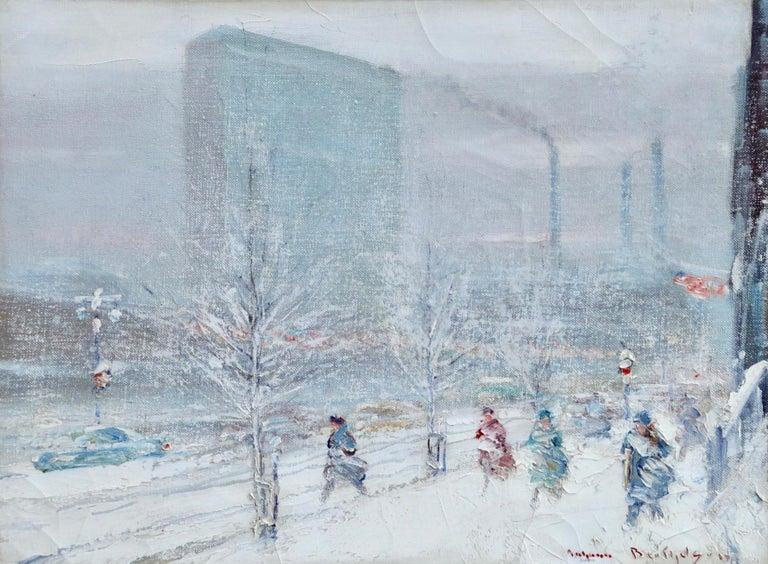 Johann Berthelsen Landscape Painting - United Nations Plaza-New York-Winter - Figures in Snow Landscape by Berthelsen