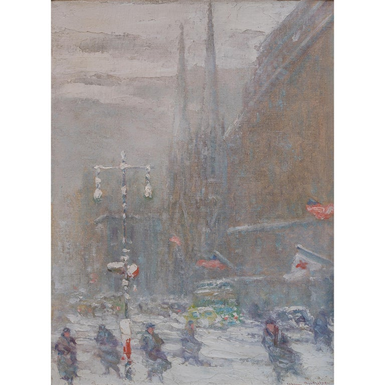 View of St.Patrick's Cathedral, Fifth Avenue by Johann Berthelsen For Sale 1