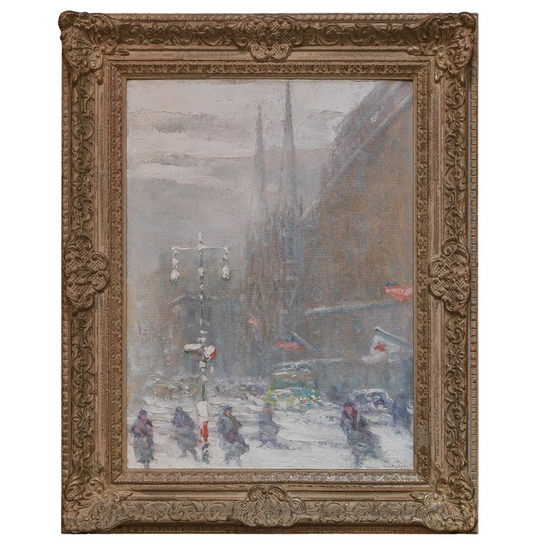 Johann Berthelsen was a prolific Impressionist painter known for his poetic urban scenes. He was born in Copenhagen, Denmark, his father was a tenor in the Royal Opera. Berthelsen immigrated to the US with his parents when he 6. In 1905, Berthelsen