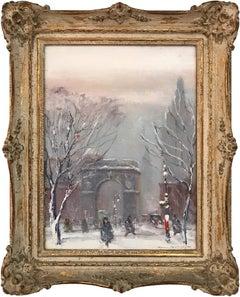 Washington Square Park, Impressionist Winter Street Scene