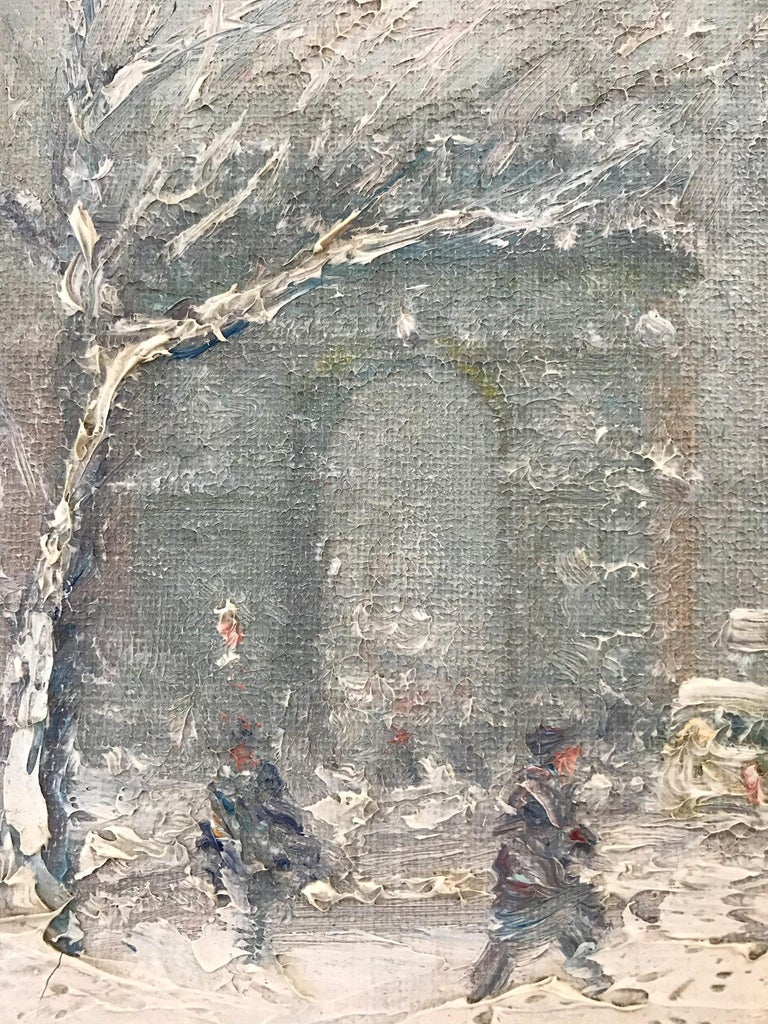 A truly stunning jewel and pertinent example of Berthelsen's charming New York City winter scenes depicting Washington Square Park in the snow. An iconic scene that so many have come to love and cherish. The artist was truly a master at capturing