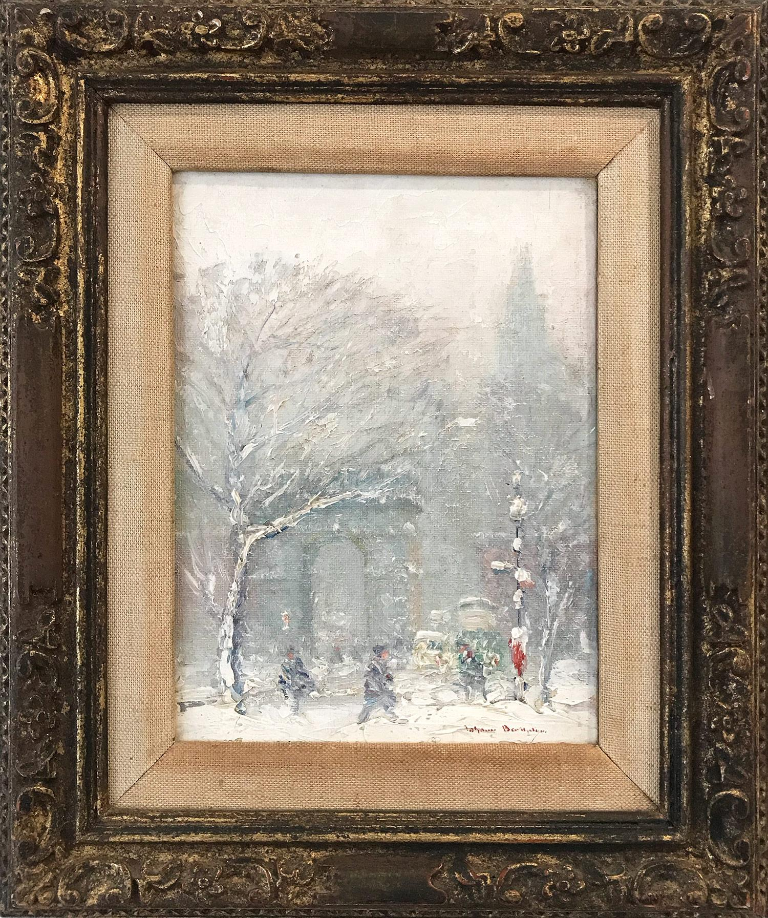 """""""Washington Square Park"""" Impressionist Winter Street Scene Oil on Canvas Board"""