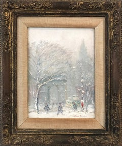 """Washington Square Park"" Impressionist Winter Street Scene Oil on Canvas Board"