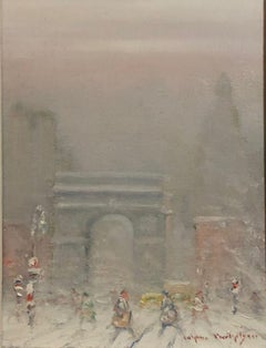 """Washington Square Park, New York City,"" Antique Winter Snow Scene"
