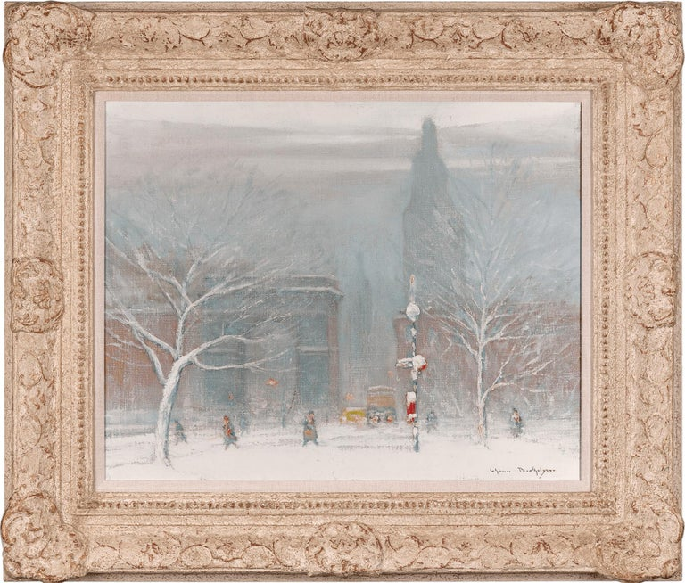 Winter in Washington Square, New York - Painting by Johann Berthelsen