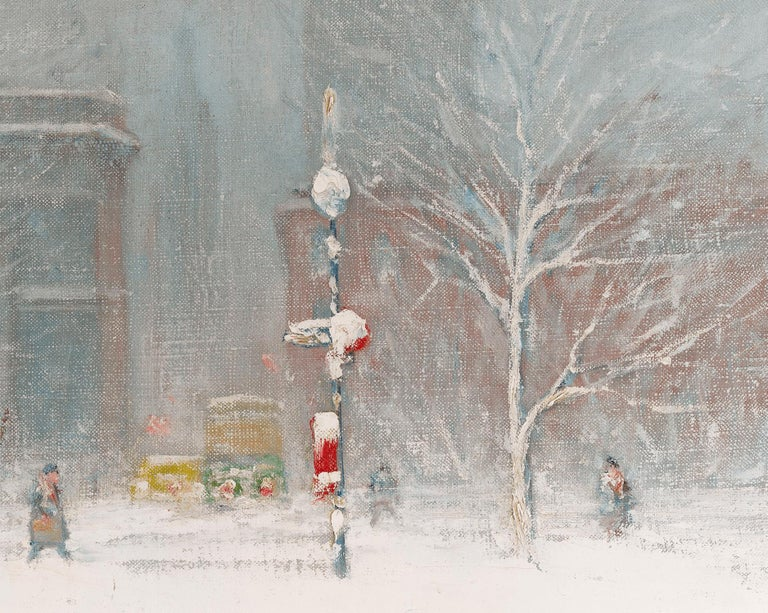 Winter in Washington Square, New York - American Impressionist Painting by Johann Berthelsen