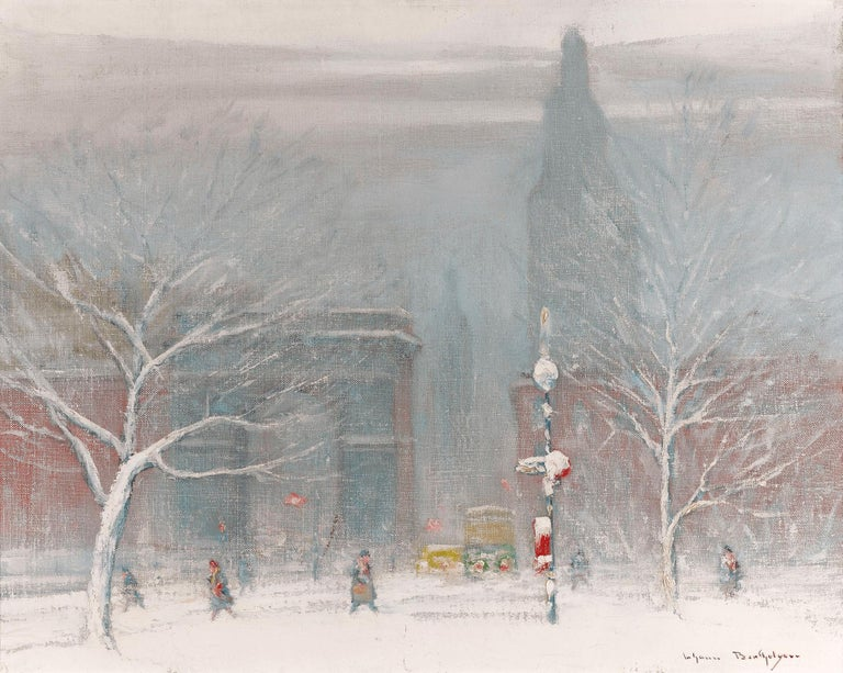 Johann Berthelsen Landscape Painting - Winter in Washington Square, New York