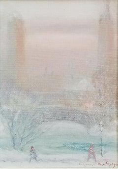"""Winter Quiet, Central Park, New York City,"" Johann Berthelsen, Impressionism"