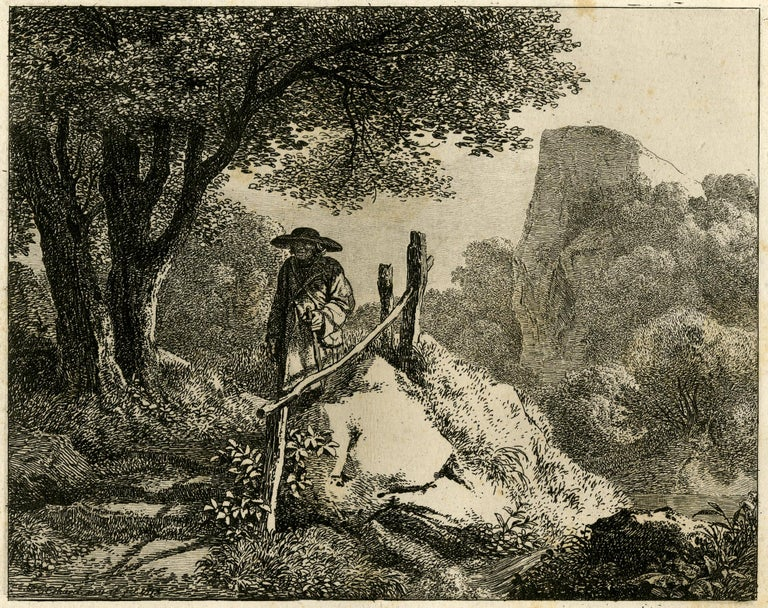 Landscape with a fenced path by Johann Christoph Erhard - Etching - 19th Century For Sale 2