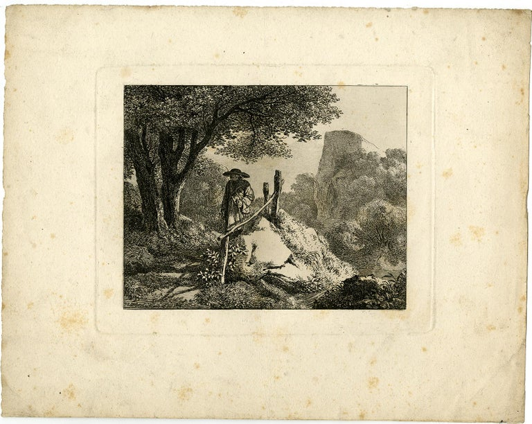 Subject:  Antique Master Print, untitled.  - Landscape with a man walking down a fenced path.  Description:  From a set of views around Salzburg. Ref: Apell ?.  Artists and Engravers:  Made by 'Johann Christoph Erhard' after own design. Johann