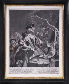 Group of Four Mezzotint Hunting Plates.