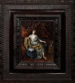 Lucretia - Oil on Panel by Johann Franz Meskens a Flemish Painter, 18th century