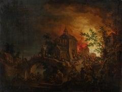 Village Burning At Night, 18th Century