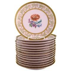 Johann Haviland Bavaria, Germany, 14 Decorative Plates in Hand Painted Porcelain