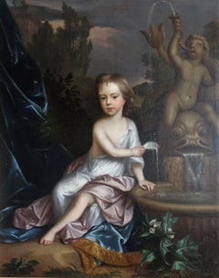 English 17th century portrait of James Thynne as a young boy by a fountain