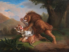 A Lion and a Tiger fighting for a Deer at the edge of a river