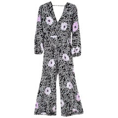Johanna Ortiz Black Floral Print Silk Long-Sleeve Jumpsuit XL