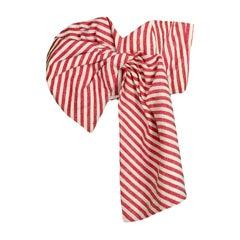 Johanna Ortiz Red/White Linen Bustier Top w/ Bow sz 0