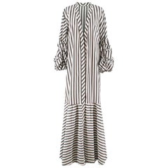 Johanna Ortiz Ruched-Sleeve Striped Stretch Long Jacket US 6
