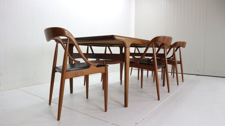 Johannes Andersen 6 Teak Dinning Chairs for Uldum Møbelfabrik, 1960s, Denmark For Sale 4