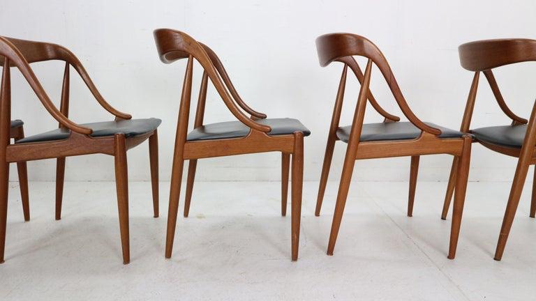 Johannes Andersen 6 Teak Dinning Chairs for Uldum Møbelfabrik, 1960s, Denmark For Sale 6